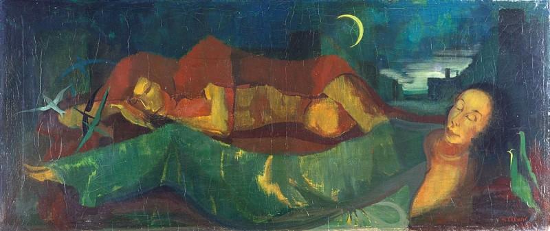 <em>Die Schlafenden (Verdunkelte Stadt)</em>, 1938, Öl auf Leinwand, 72 × 170,5 cm