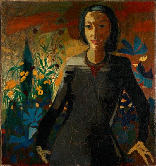 <em>Frauenbildnis (Lea Grundig vor Blumen)</em>, 1946, Ölmalerei, 90,8 × 84,7 cm