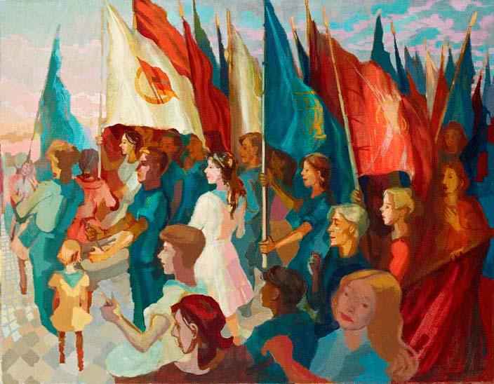<em>Jugenddemonstration II</em>, 1951, Ölmalerei, 86 × 110 cm