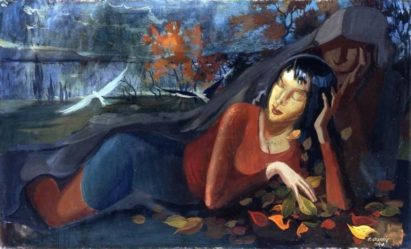 <em>Herbst</em>, 1947, Öl auf Leinwand, 74 x 123,5 cm