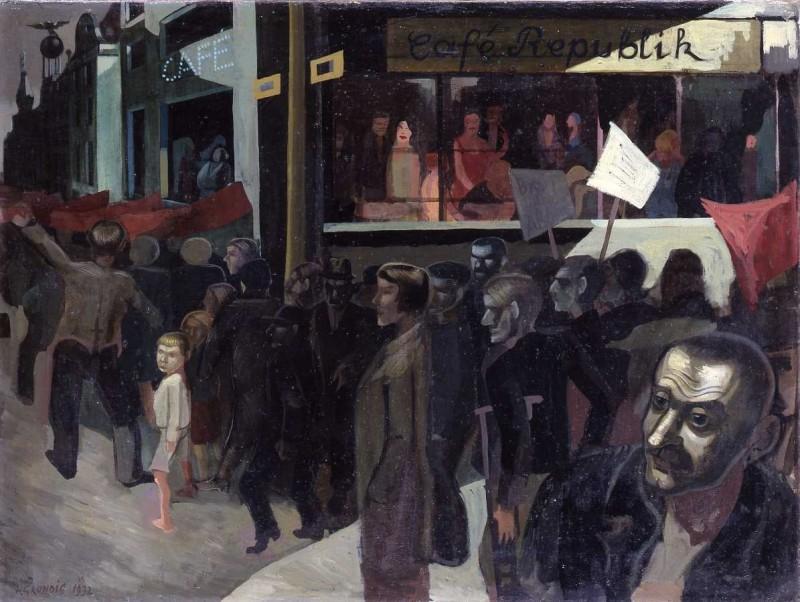 <em>Hungermarsch (Café Republik)</em>, 1932, Öl auf Leinwand, 76 x 100 cm
