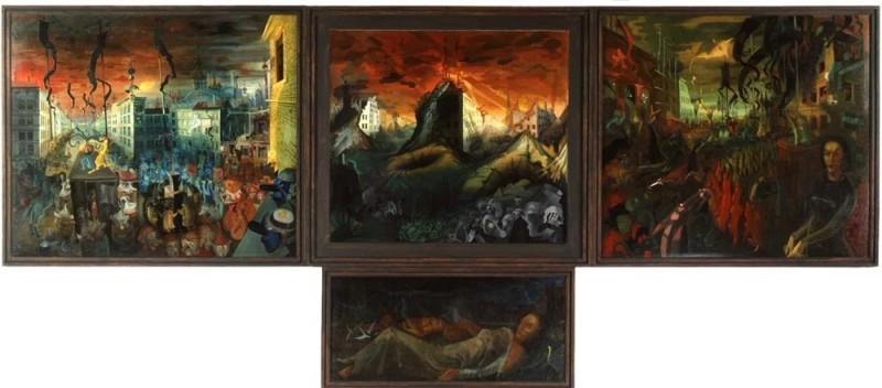 <em>Das Tausendjährige Reich</em> (Triptychon), 1935–1938.<br/>Linke Tafel: <em>Karneval</em>, 1935, 150 x 178 cm. Mitteltafel: <em>Vision</em>, 1936, 130 x 152 cm. Rechte Tafel: <em>Chaos</em>, 1938, 152 x 170 cm. Predella: <em>Die Schlafenden</em>, 1938, 67 x 146 cm. Tafeln: Öl auf Holz, Predella: Öl auf Leinwand.