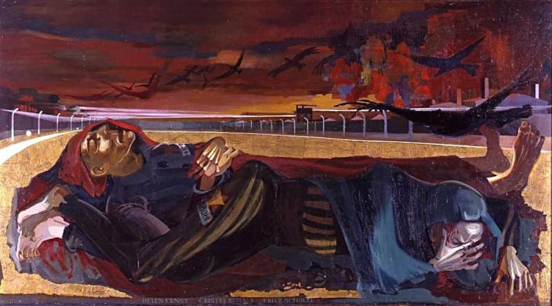 <em>Den Opfern des Faschismus</em>, um 1947.<br/>Inschrift: HELEN ERNST CHRISTEL BEHAM FRITZ SCHULZE, Öl auf Hartfaserplatte, 110 x 200,3 cm