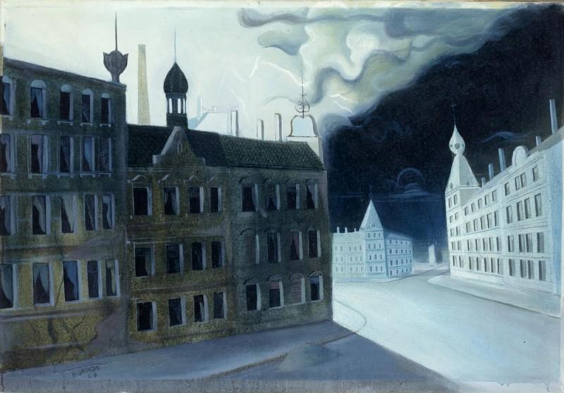 <em>Gewitter (Kalte Nacht)</em>, 1928, Öl auf Leinwand, 61 x 90 cm