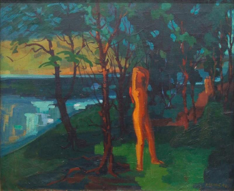 <em>Elblandschaft mit Badender</em>, 1946, Öl auf Leinwand, 70 x 85 cm