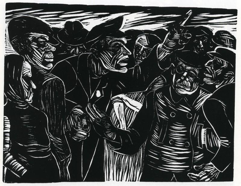 <em>Diskussion (auf der Straße) zwischen KPD- und SPD-Arbeitern</em>, 1930/31, Linolschnitt, 27,5 × 36,5 cm