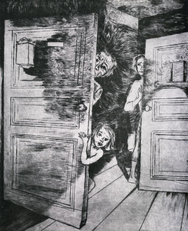 <em>Gestapo im Haus</em>, 1934, Blatt 10, Zyklus <em>Unterm Hakenkreuz</em>, Kaltnadelradierung