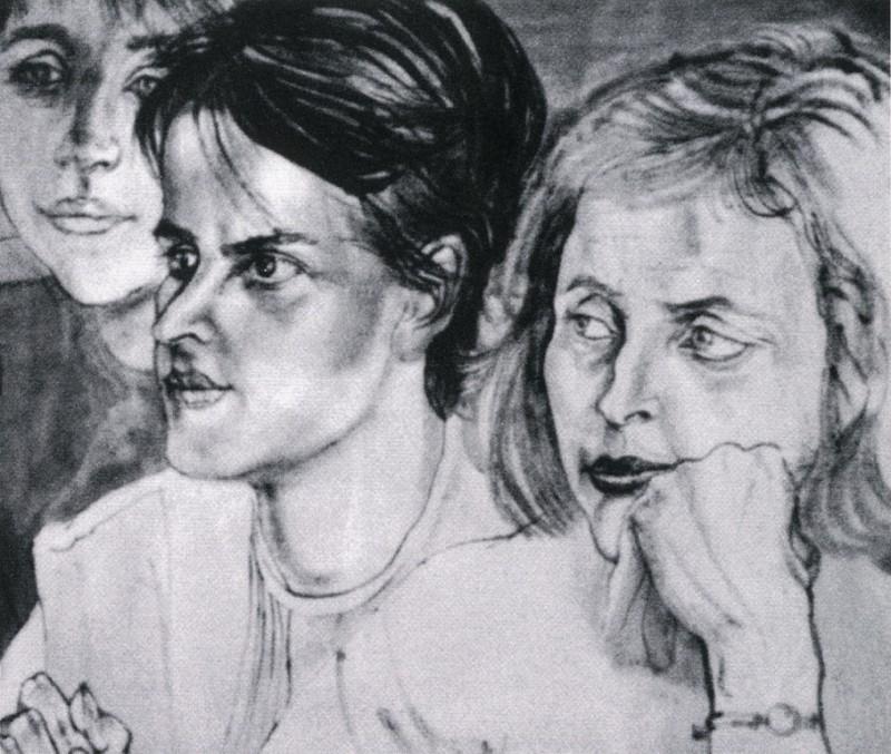 <em>Frauen in der Qualifikation</em> (Pinsel, Tusche, 1967, Kunstsammlung der Petrochemie und Kraftstoffe AG, Schwedt/Oder)